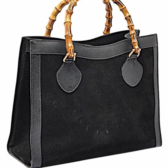 05fd3bd82d7 Gucci Handbags - Auth Gucci Vintage Black Suede bamboo handles tote